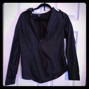 Perfect Black Work Shirt w/ Cute Polka Dot Detail